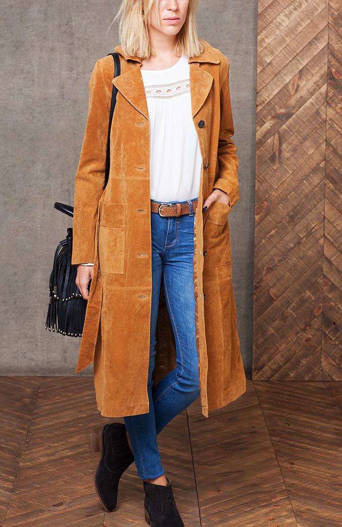 Abrigo largo pekari marrón stradivarius