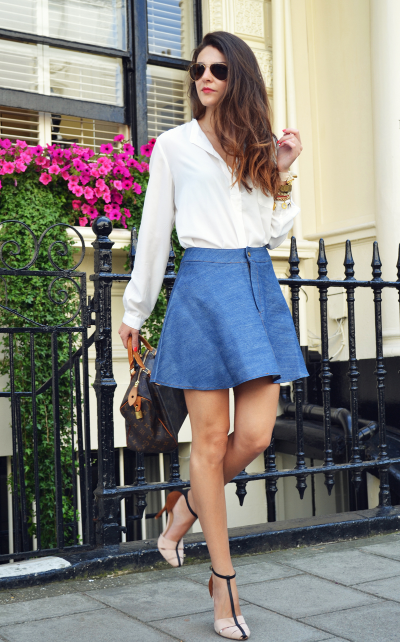 flared denim skirt 2