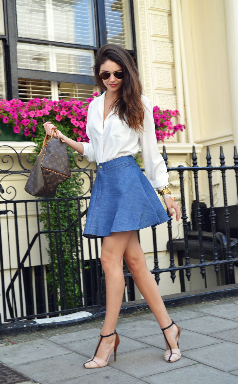 flared denim skirt. 3