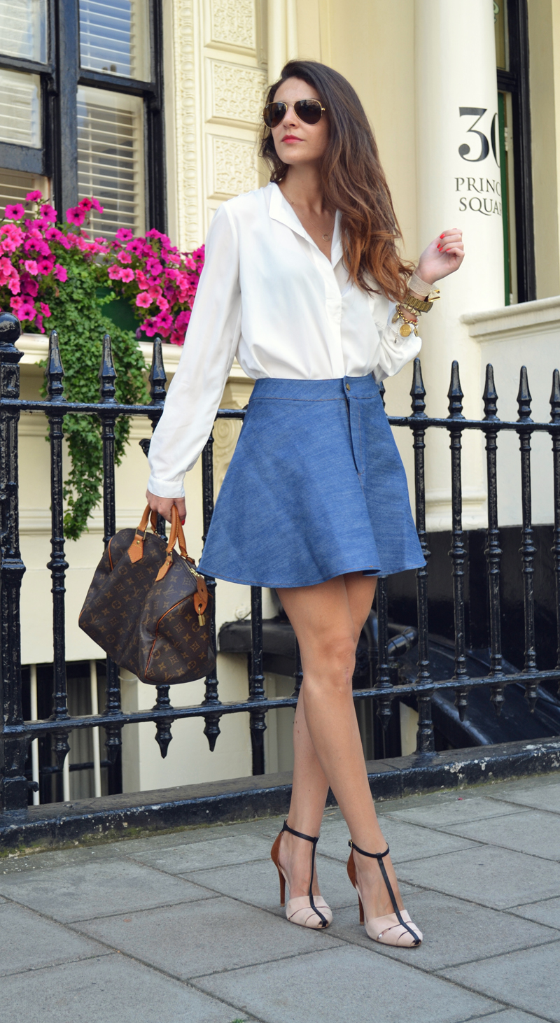 flared denim skirt. 5