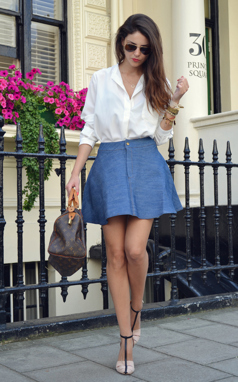 flared denim skirt. 6