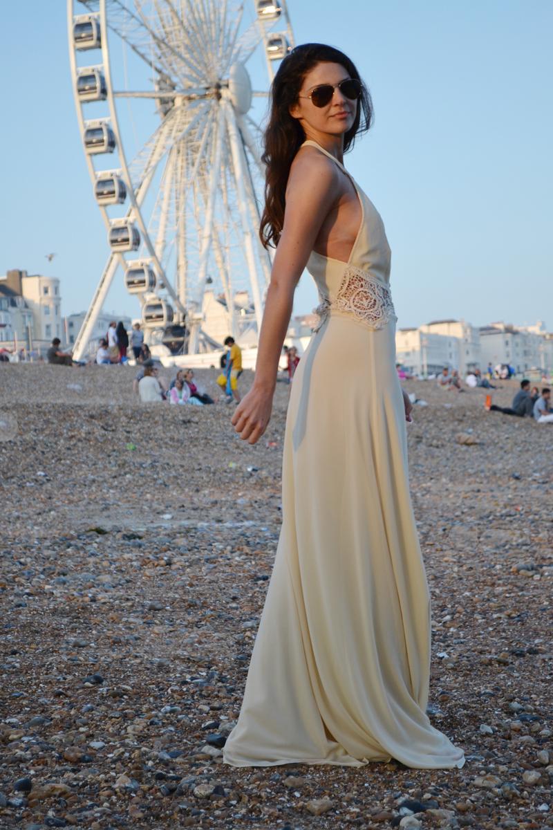 maxi lace dress nude