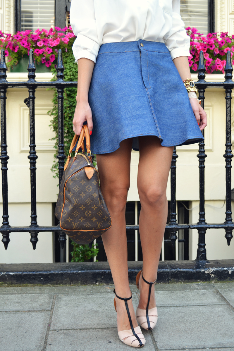 outfit details denim skirt
