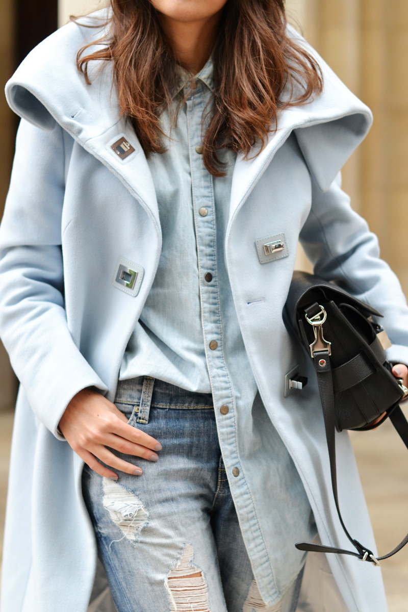 double denim + pastel coat