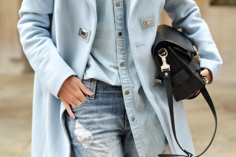 pastel coat denim