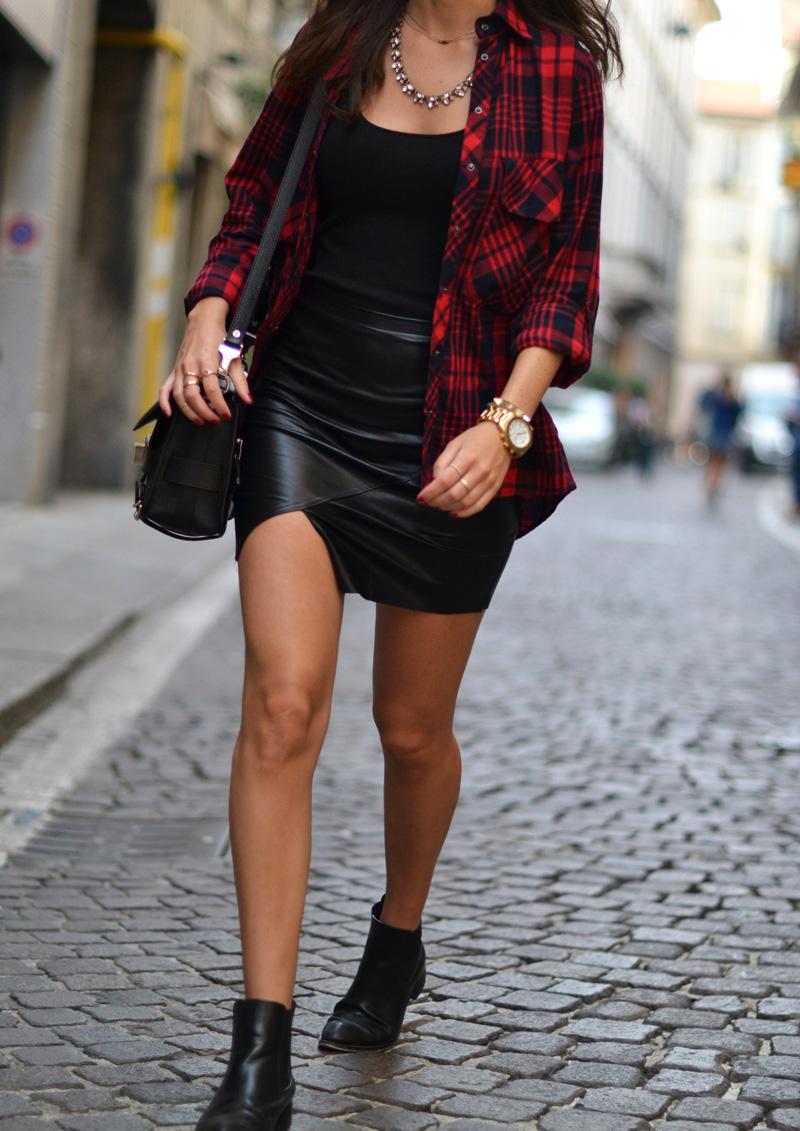 tartan print leather