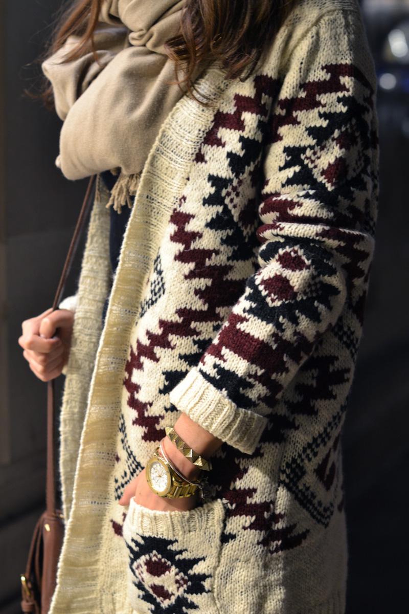 etnic cardigan knit