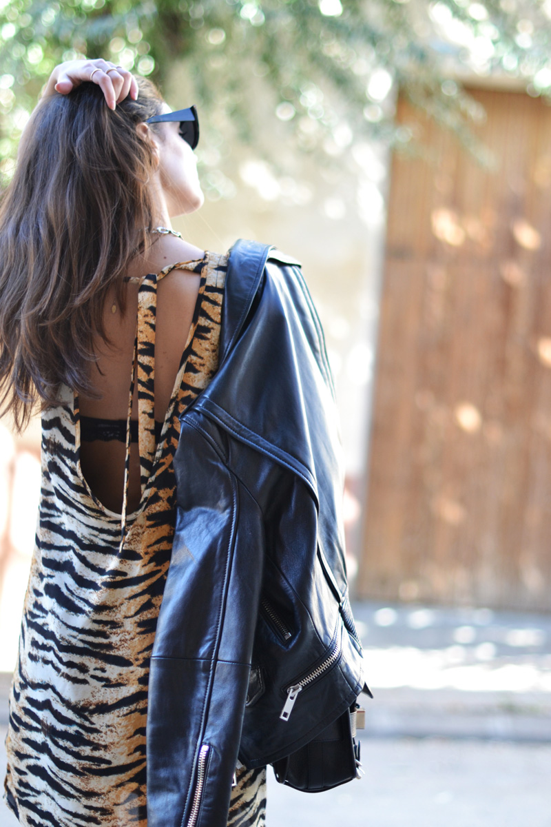 open back tiger dress