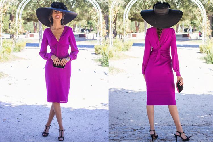 Invitada perfecta con vestido color buganvilla