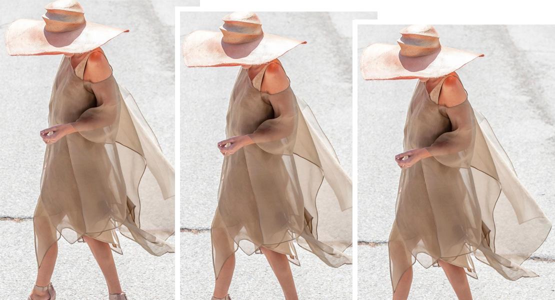 vestido con tejidos vaporosos de tba