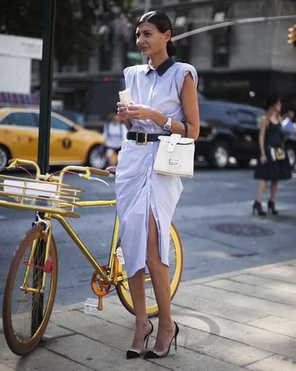 vestido camisero street style