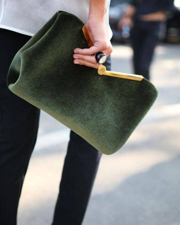 cartera verde bolsos de terciopelo