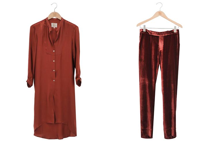 Camisa Mao L y Pantalón T.ba Terciopelo Brick