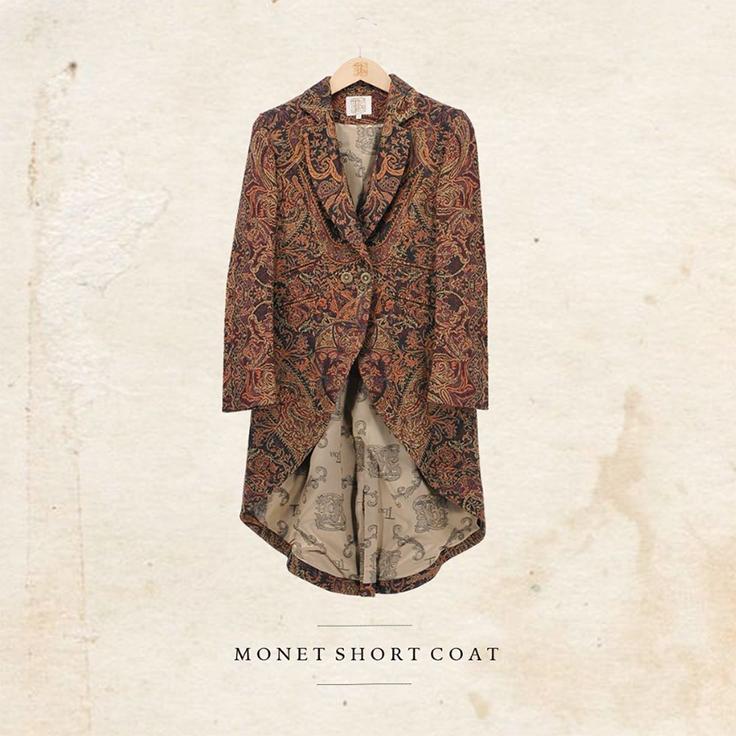 Abrigo corto confeccionado en jacquard con forro de seda - T.ba looks de invierno