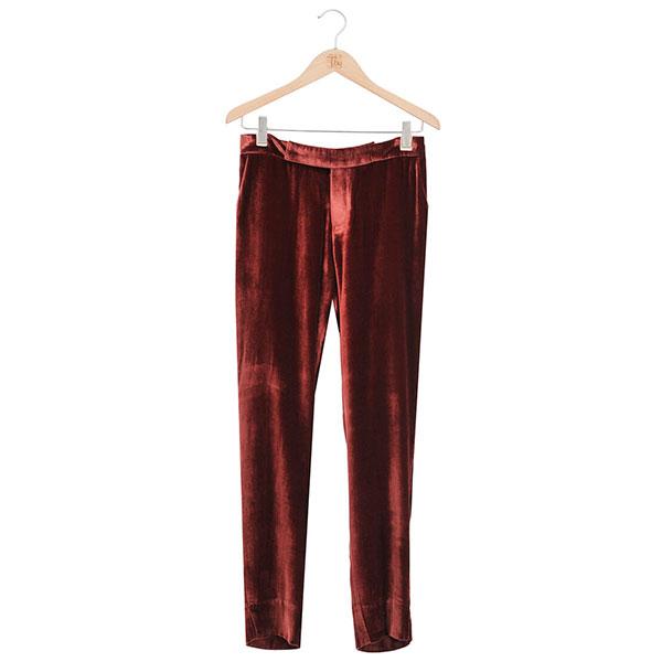 Pantalón de terciopelo recto en color burdeos