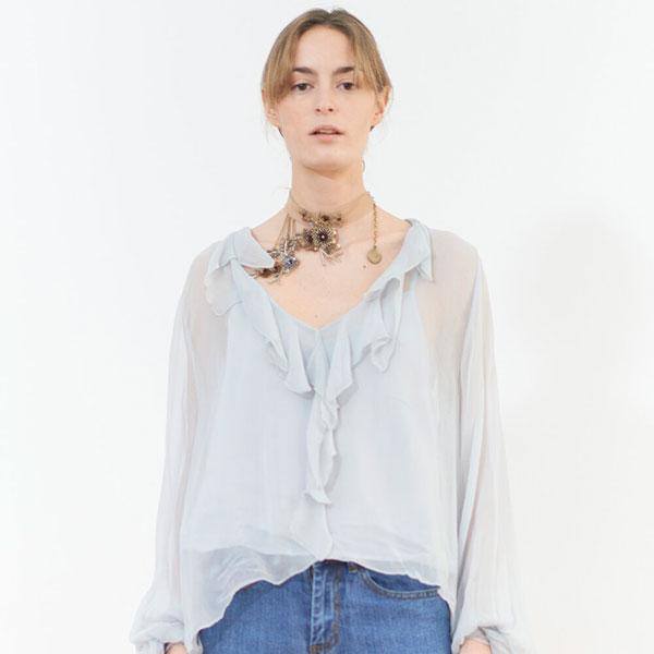 © T.ba camisa blusa swing volantes azul pastel