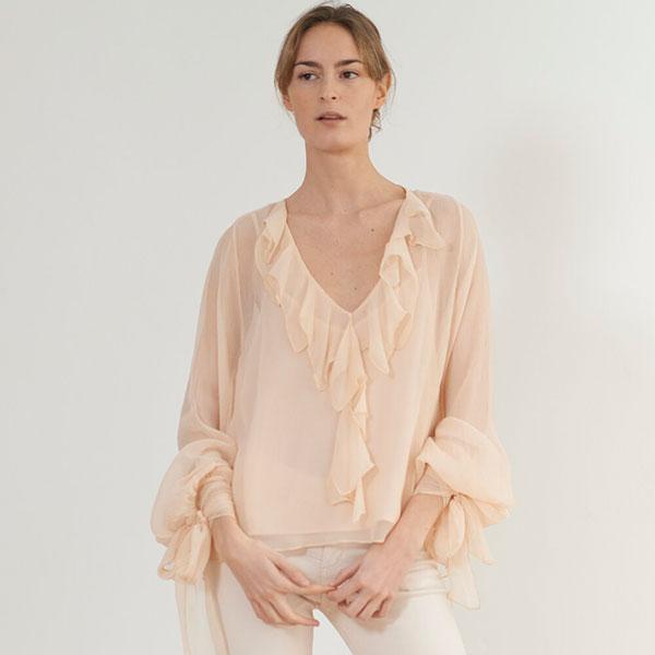 © T.ba camisa blusa swing volantes rosa pastel