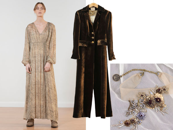 Vestido Allegro, Abrigo Classic, Collar Queen S looks de t.ba para la noche