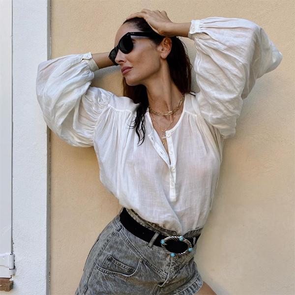 eusilva blusa blanca mangas abullonadas