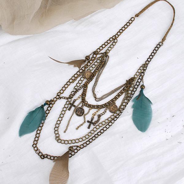 collares para verano tba Organza feathers necklace