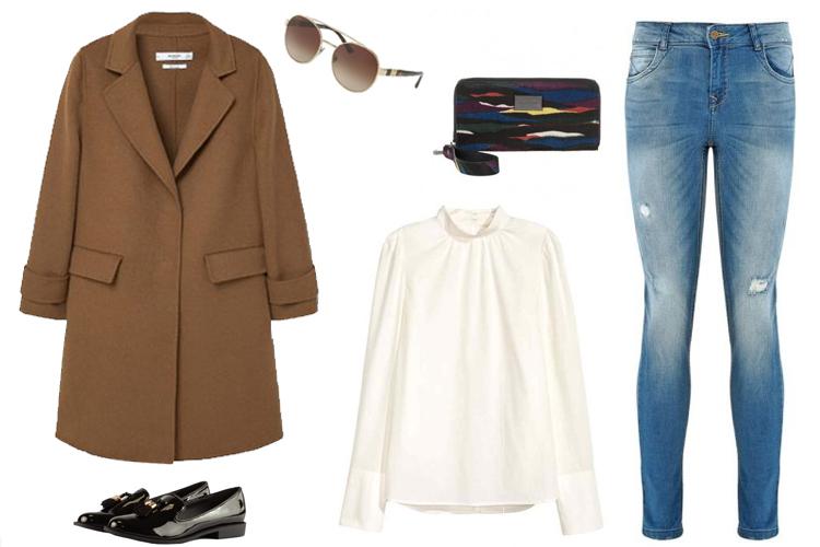 6c0ec35a5a610 Look del día  abrigo de mujer camel y vaqueros - F4M