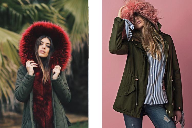 Abrigos con capucha de pelo de colores