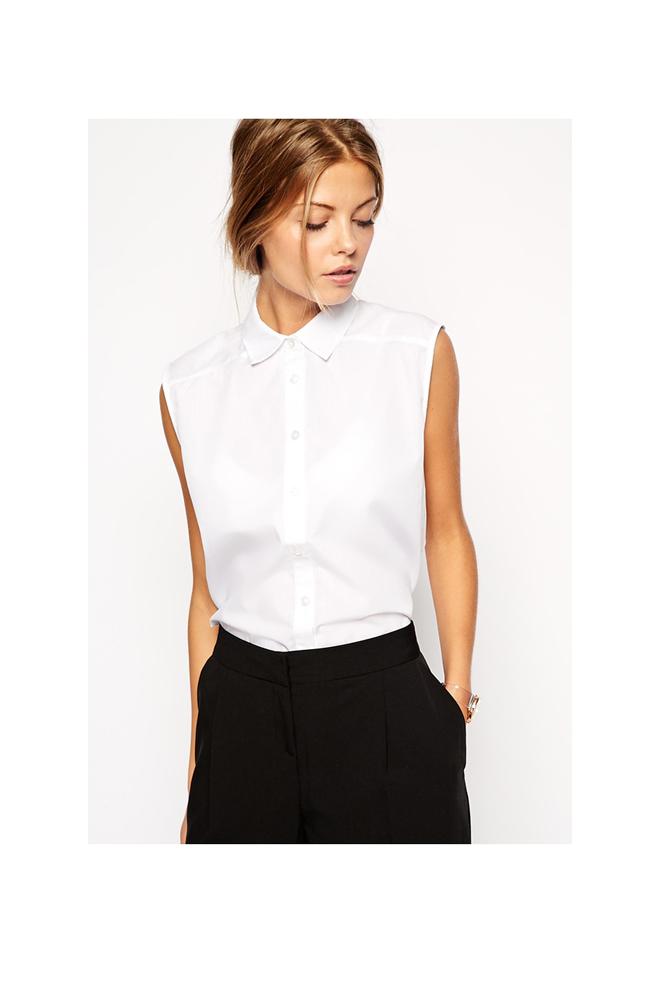 Camisa sin mangas blanca