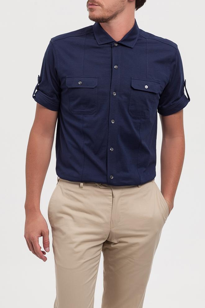 Camisa azul manga corta