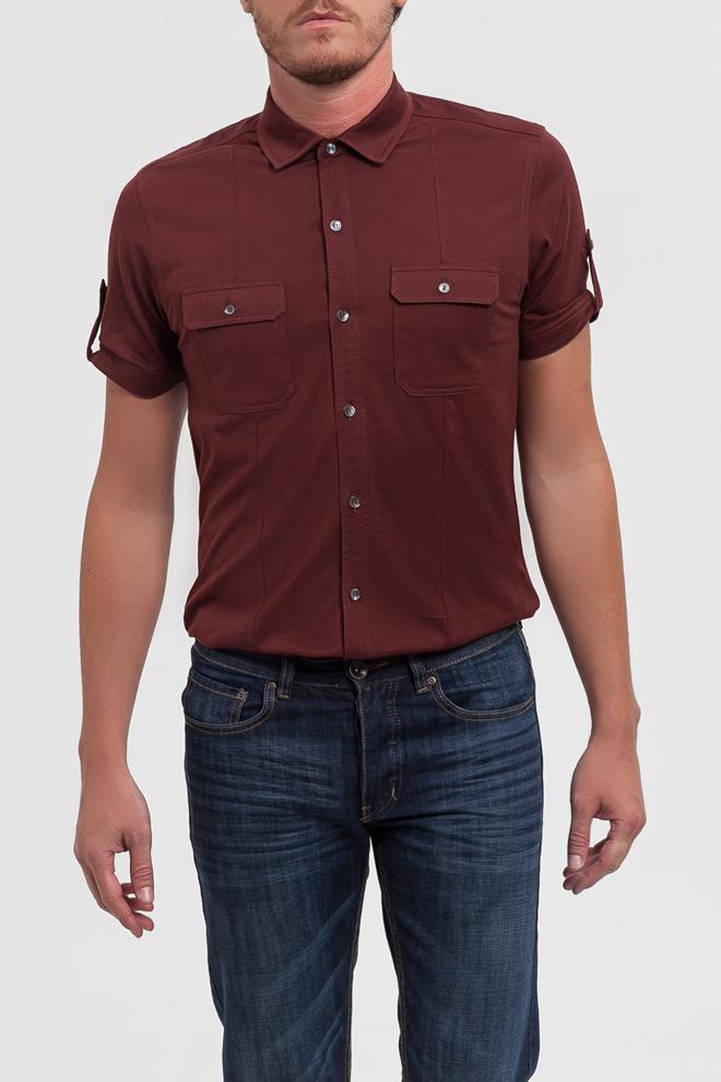 Camisa granate con bolsillos