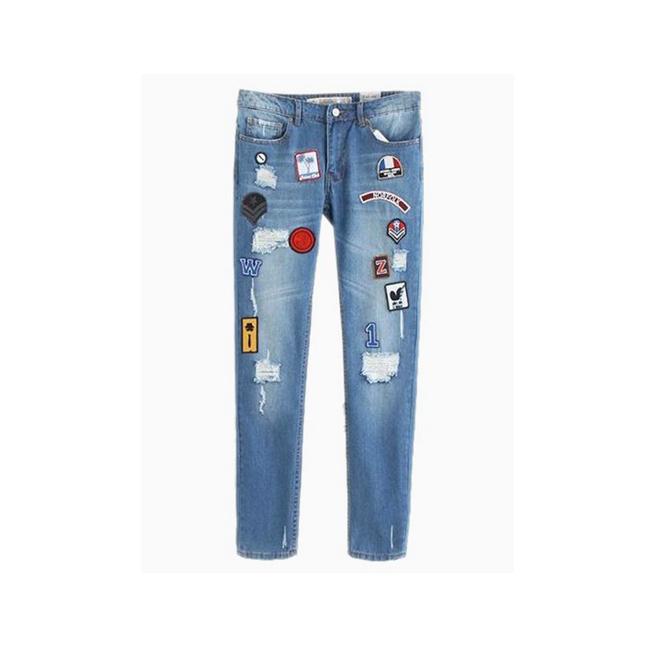 Skinny patch jeans