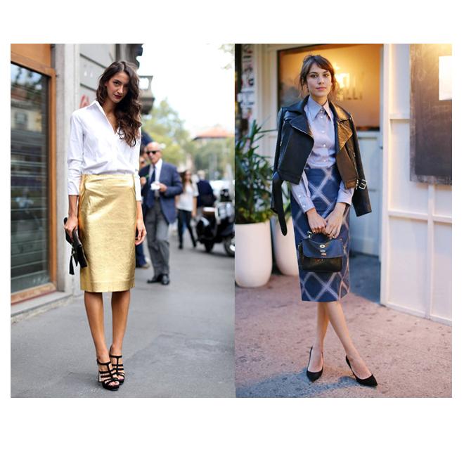 Look elegante con falda lápiz elegante