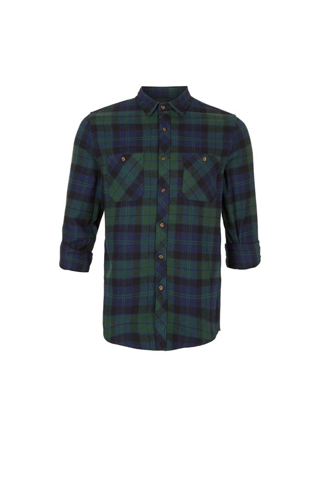 Camisa de cuadros verdes y azules