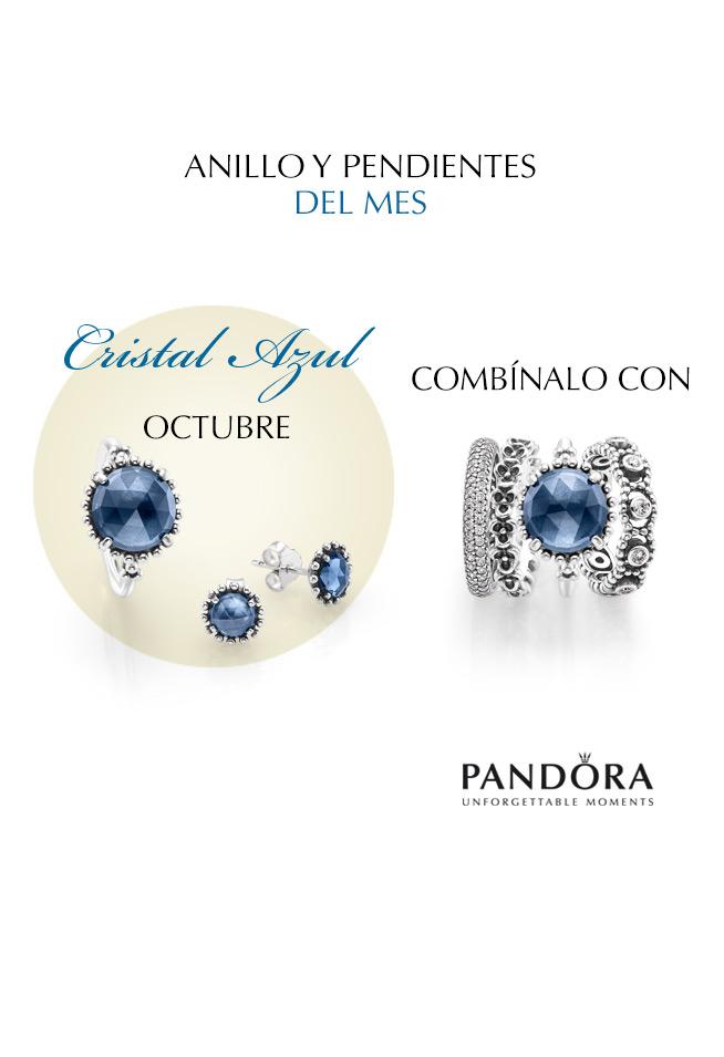 anillo pandora cristal azul