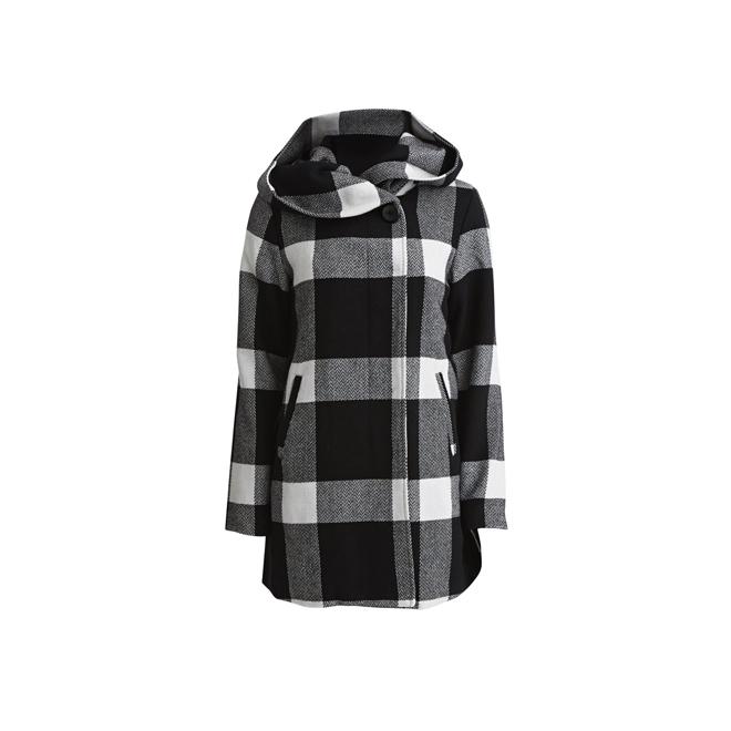 Abrigo de cuadros con capucha