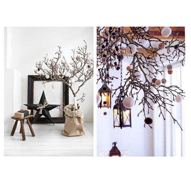 Deco navidad inspiracion stylelovely - Arbol de navidad con ramas ...