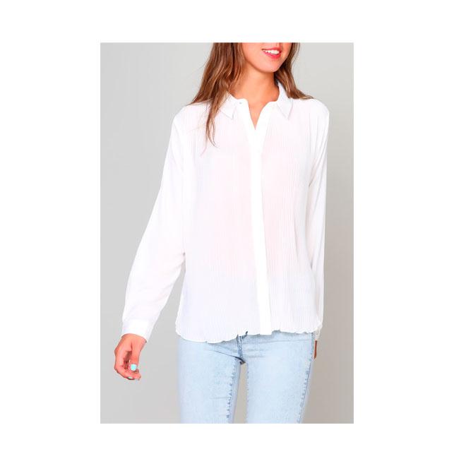 Camisa blanca plisada
