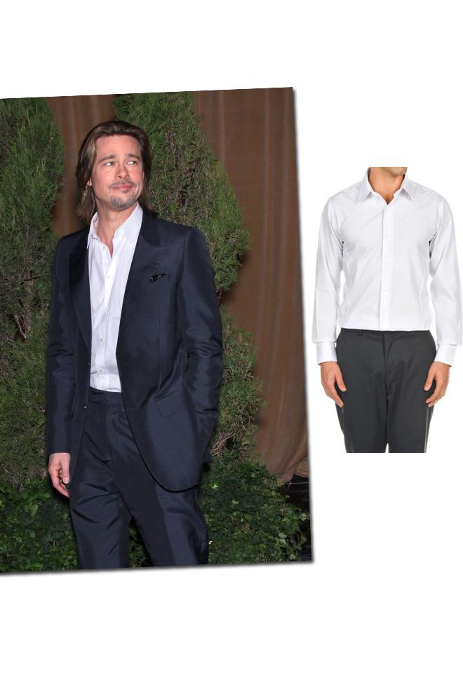 Brad Pitt con camisa blanca