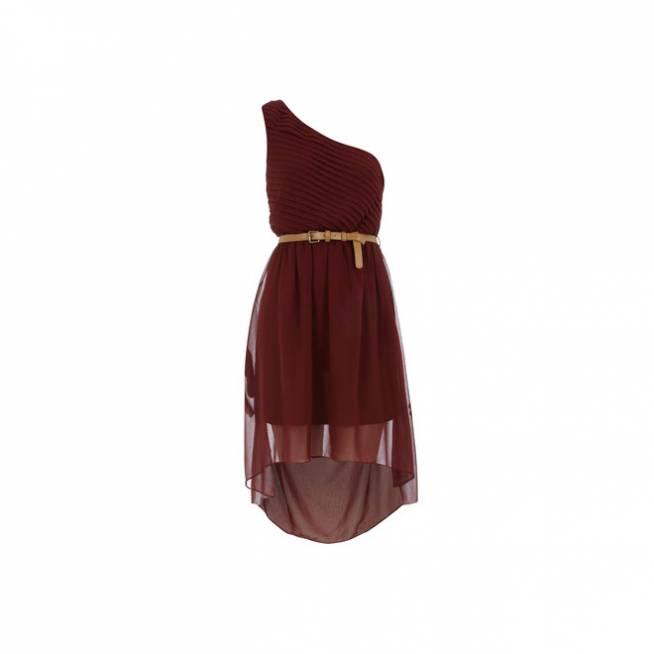 Vestido asimétrico berenjena