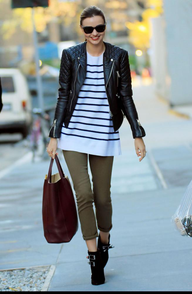 Green + Leather + Stripes