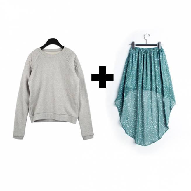 Sudadera + falda vaporosa