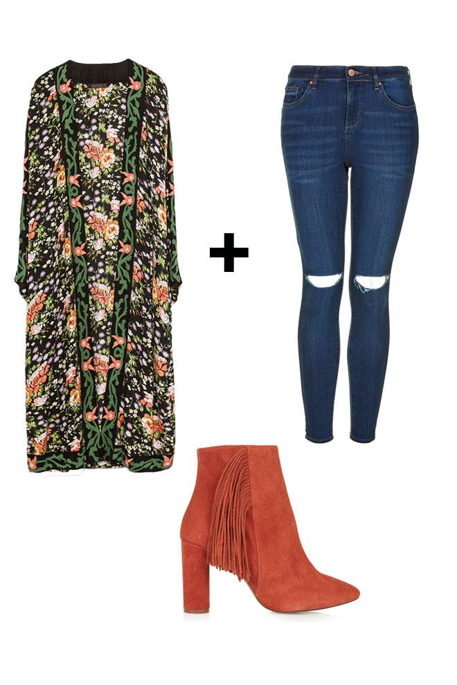 Kimono floral + jeans
