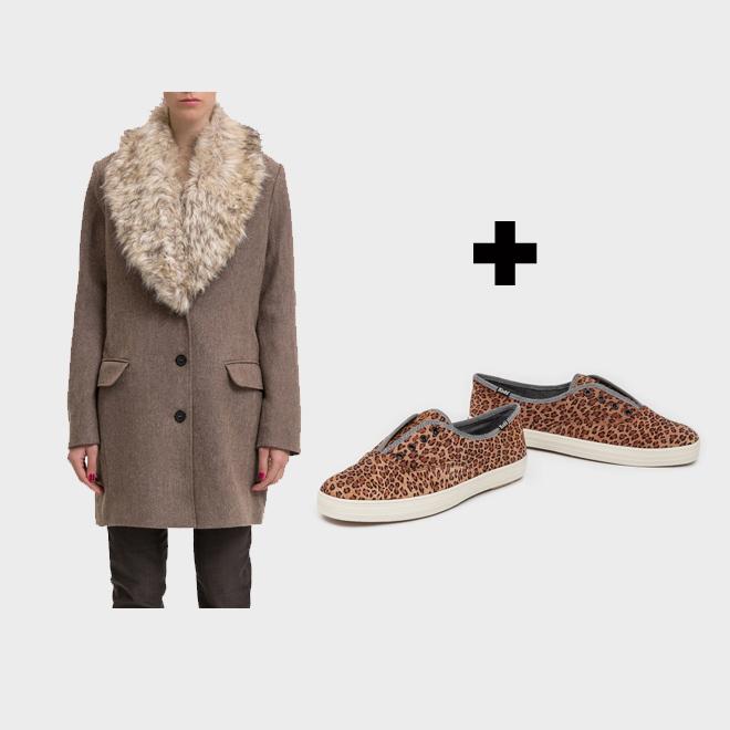 Abrigo con zapatillas de leopardo