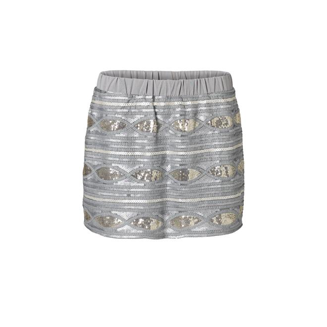 Mini falda de lentejuelas plata