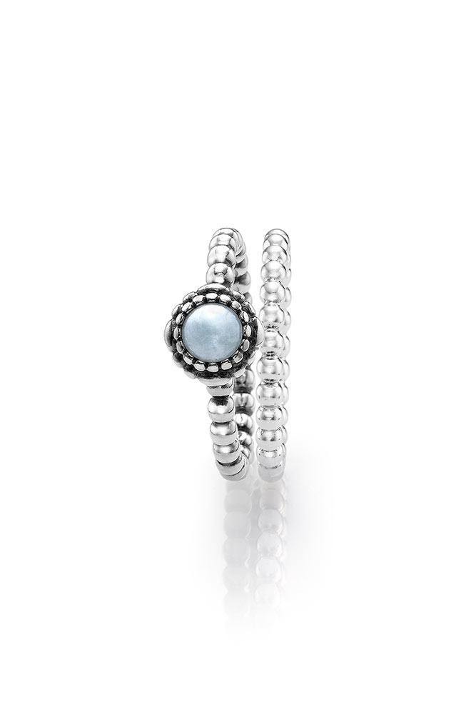 anillo pandora aguamarina