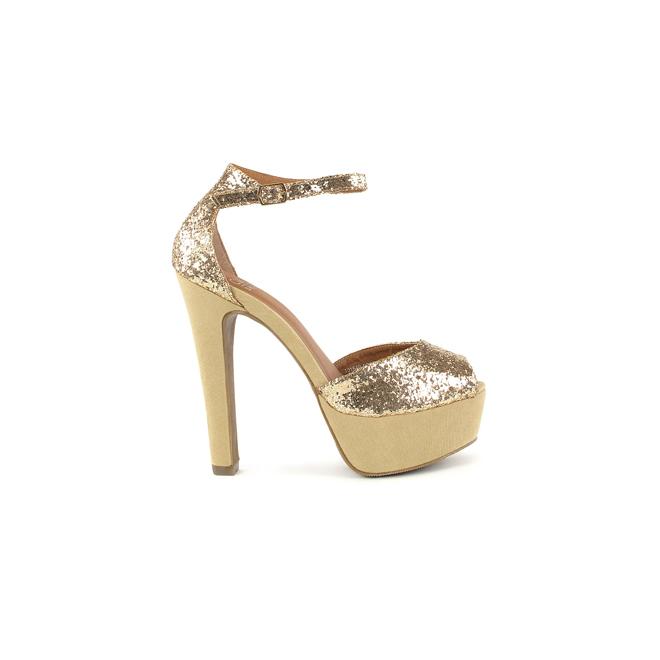 Peeptoes de glitter dorado
