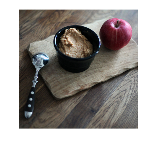 Crema de cacahuete con manzana