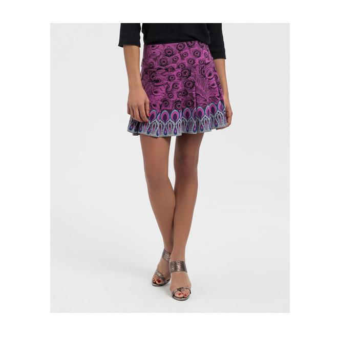 Minifalda con print de pavo real