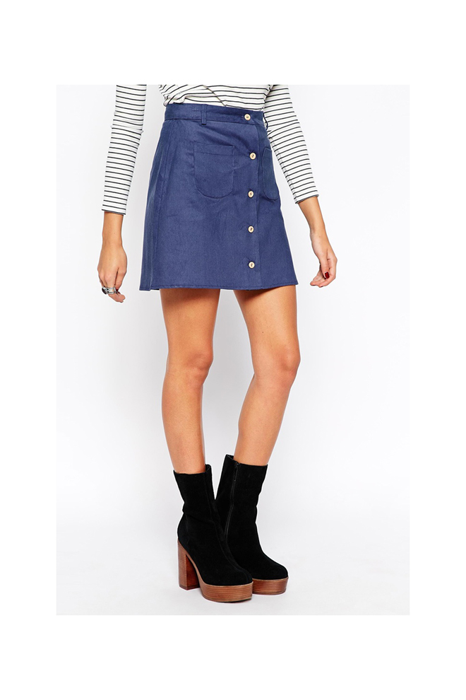 Falda mini con botones