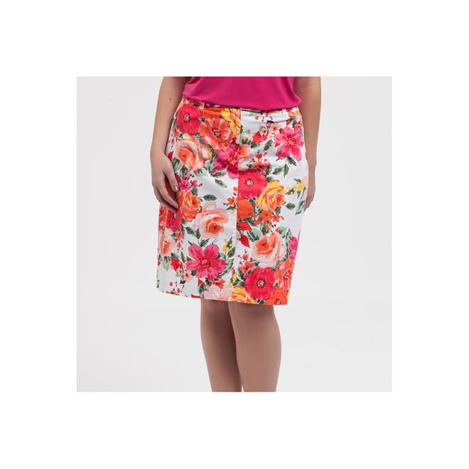 Falda recta de flores