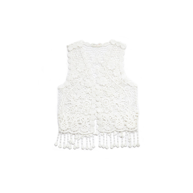 Chaleco de crochet con flecos